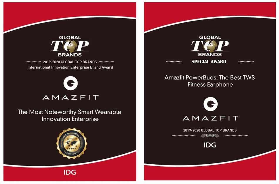 """Huami Amazfit received two awards in """"2019-2020 Global Top Brands"""" selection"""