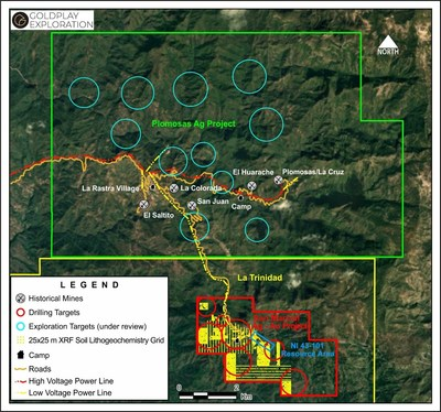 Figure 2 –Plomosas Silver Project – Historical Ag Mines & Exploration Targets (CNW Group/Goldplay Exploration Ltd)