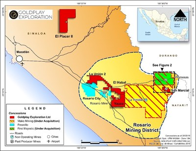 Figure 1 – Location Map Plomosas Silver Project – Rosario Mining District (CNW Group/Goldplay Exploration Ltd)