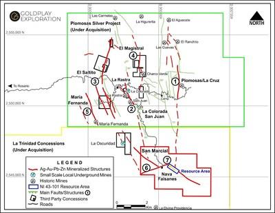 Figure 3 –Plomosas Silver Project – La Trinidad Concessions – San Marcial Ag-au Project (CNW Group/Goldplay Exploration Ltd)