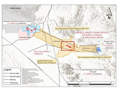 Figure 1 – Imperial Claims Controlling the Mesquite-Picacho Gold District (CNW Group/Kore Mining)