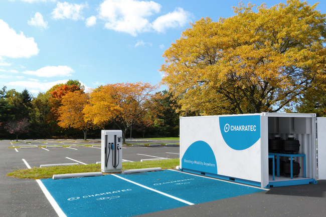 Chakratec Partners with Blink Charging to Bring Affordable and Sustainable EV Charging Technology to the US Market. Photo of a Kinetic Charging Station.