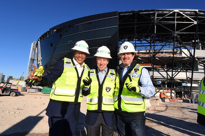 (l to r) Derrick Hill, Cox Business Las Vegas Vice President; Pat Esser, Cox Communications President; Matt Pasco, Raiders Vice President of Technology start CES outside Allegiant Stadium, future home of the Raiders