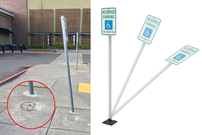 Careless drivers backing into parking spots can easily damage standard steel posts, and it can happen repeatedly. The Sta-Rite Gorilla Post bounces back into place after impact.