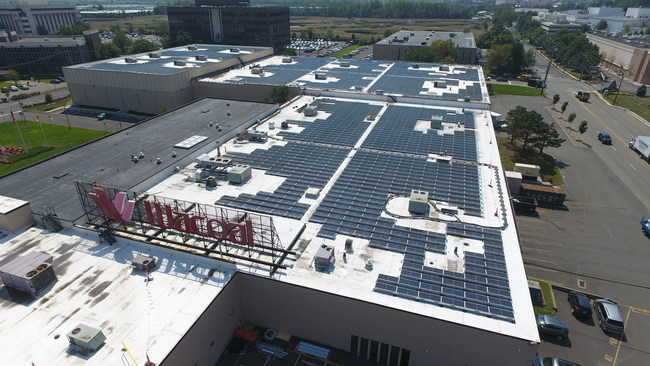 The 965 kW rooftop system generates solar energy for Wacoal America's headquarters and distribution center in Lyndhurst, NJ.