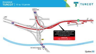 Entraves − Échangeur Turcot (Groupe CNW/Ministère des Transports)