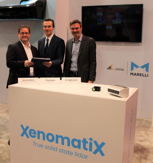 From left to right: -        Sylvain Dubois, CEO of Marelli's Automotive Lighting division  -        Filip Geuens, CEO of XenomatiX -        Dr. Detlef Juerss, Chief Commercial, Engineering & Technology Officer of Marelli