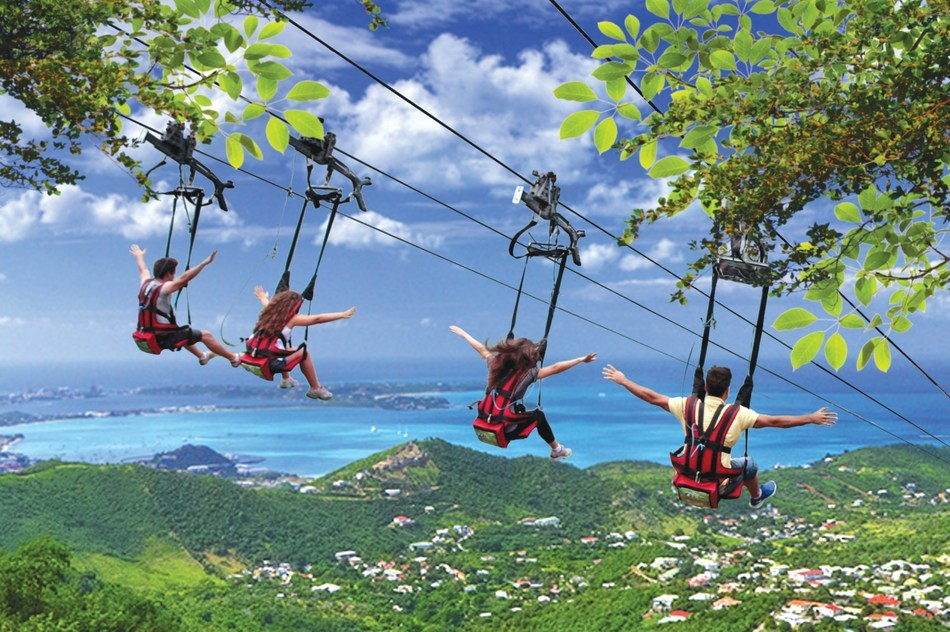 On a cruise vacation you can get an adrenaline rush with such brag-worthy shore experiences as riding St. Maarten's Flying Dutchman, the world's steepest zipline. (Photo courtesy of Carnival Cruise Line)
