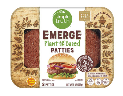 Kroger's Simple Truth® brand launches Emerge™, a line of plant-based fresh meats, including burger patties and grinds.