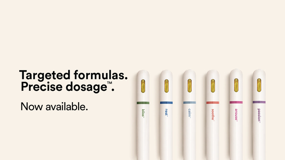 The proprietary dose pen and its six targeted formulations, including bliss™, rest™, calm™, soothe™, arouse™ and passion™ are now available in Canada at select premium retail partners. (CNW Group/dosist)