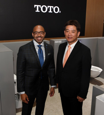 (L-R) Dr. Kofi Smith, President and CEO of Atlanta Airport Terminal Company, and Shinya Tamura, CEO of TOTO USA, discuss TOTO's long-term relationship with Hartsfield-Jackson Airport. TOTO installed its smart-sensor EcoPower products in 2005, saving the airport money on its water and electricity bills. Now, its EcoPower faucets and flush valves offer IoT connectivity to help the airport provide passengers a clean, comfortable restroom experience. (Photo by Denise Truscello/Getty Images for TOTO)