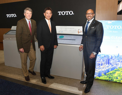 (L-R) Mike Slawson, Vice President of Connected Devices for GP PRO, Shinya Tamura, CEO of TOTO USA, and Dr. Kofi Smith, President and CEO of the Atlanta Airport Terminal Company, talk over Hartsfield-Jackson Atlanta International Airport's significant improvements in sustainability, labor efficiency, and restroom operation costs as a result of its new Smart, Fully-Connected Restroom System thanks to a collaboration of TOTO and GP PRO.