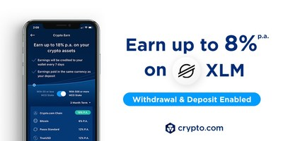 Users can enjoy up to 8% p.a. on their XLM deposits on Crypto Earn.