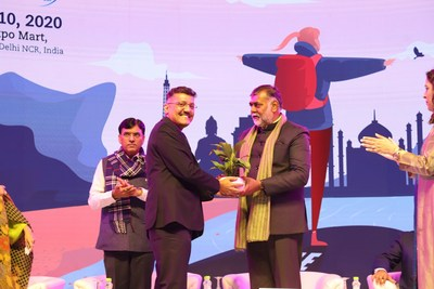 (L-R) Shri Mansukh L Mandaviya Ji, Minister of State (I/C) for Shipping Govt. of India, Chief Guest, Shri Prahalad Singh Patel Ji, Union Minister for State for Tourism & Culture (I/C), Government of India and Mr. Yogesh Mudras, Managing Director, Informa Markets in India at the inauguration of SATTE 2020 organized by Informa Markets in India at Greater Noida.