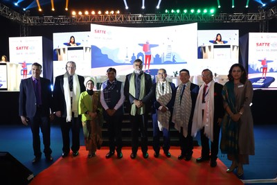 (L-R) Mr. Yogesh Mudras, Managing Director, Informa Markets in India, Mr. Michael Duck, Executive Vice President, Informa Markets – Asia, Nia Niscaya, Deputy Minister of Tourism Marketing, Ministry of Tourism of the Republic of Indonesia, Shri Mansukh L Mandaviya Ji, Minister of State (I/C) for Shipping Govt. of India, Chief Guest, Shri Prahalad Singh Patel Ji, Union Minister for State for Tourism & Culture (I/C), Government of India, Mr. Michael Goh, President, Dream Cruises & Head of International Sales, Genting Cruise Lines, Mr. Subhash Goyal, Hony. Secretary, FAITH at the inauguration of SATTE 2020 organized by Informa Markets in India