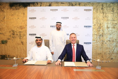 Miral and Etihad sign agreement to name Etihad Arena, the new entertainment venue on Yas Island. (L to R): Mohamed Abdalla Al Zaabi, Chief Executive Officer of Miral, HE Mohamed Khalifa Al Mubarak, Chairman of the Department of Tourism and Culture, and Tony Douglas, Group Chief Executive Officer of Etihad Aviation Group.