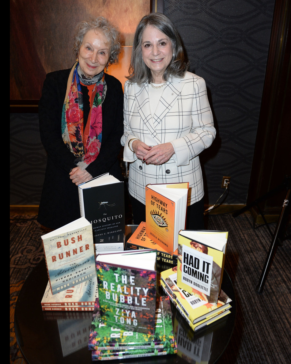Margaret Atwood, juror, and Noreen Taylor, Founder of the RBC Taylor Prize celebrate the announcement of the short list of authors for the 2020 RBC Taylor Prize.   PHOTO TOM SANDLER (CNW Group/RBC Taylor Prize)