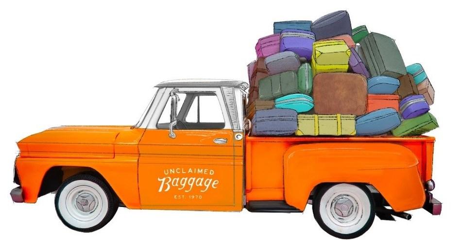 Rendering of Unclaimed Baggage vintage road tour vehicle