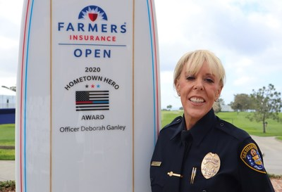 Officer Deborah Ganley received the inaugural Hometown Hero Award in advance of the 2020 Farmers Insurance Open.