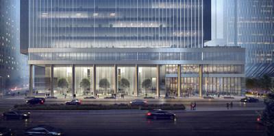 110 North Wacker Drive entrance view © Goettsch Partners
