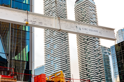 The ceremonial last steel beam at CIBC SQUARE's 81 Bay Street. (CNW Group/CIBC)