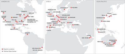 The global footprint of Platform Equinix.