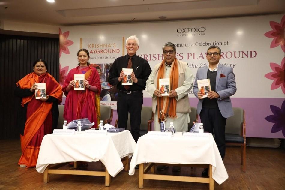 Image (L-R) Smt. Shubha Mudgal, V. Mohini Giri, Professor & Author John Stratton Hawley, Purushottam Agrawal and Rimpesh Sharma at the book launch of Krishna's Playground - Vrindavan in the 21st Century