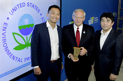 LG was recognized at CES® 2020 for leadership in responsible electronics recycling by the U.S. Environmental Protection Agency. Left to right: LG Electronics USA's Ezekiel Ahn, John Taylor and Johnson Choo.
