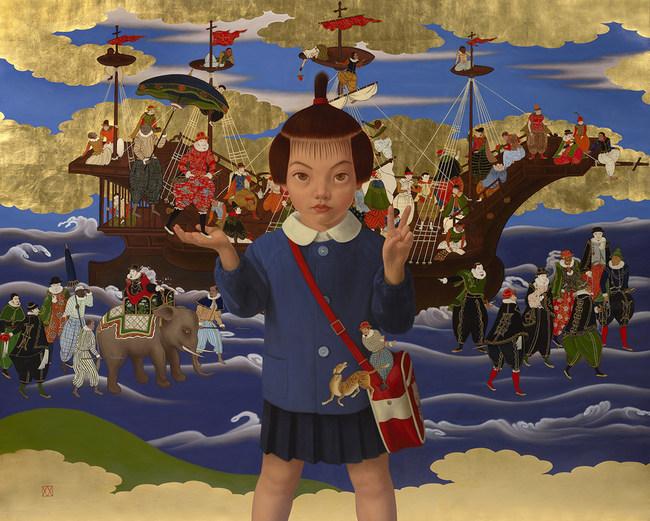 "Mitsuru Watanabe (Born 1953) - ""Naoko playing with Nanban-Jin"" - Rehs Contemporary Galleries, Inc., NYC"