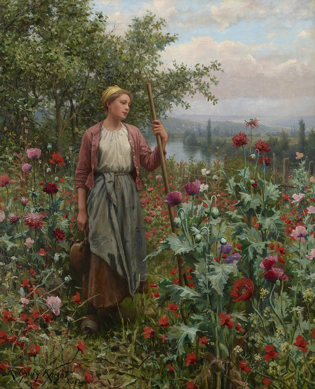 """Daniel Ridgway Knight (1839 - 1924) - """"Maria Among the Poppies"""" (circa 1902) - Rehs Galleries, Inc., NYC"""