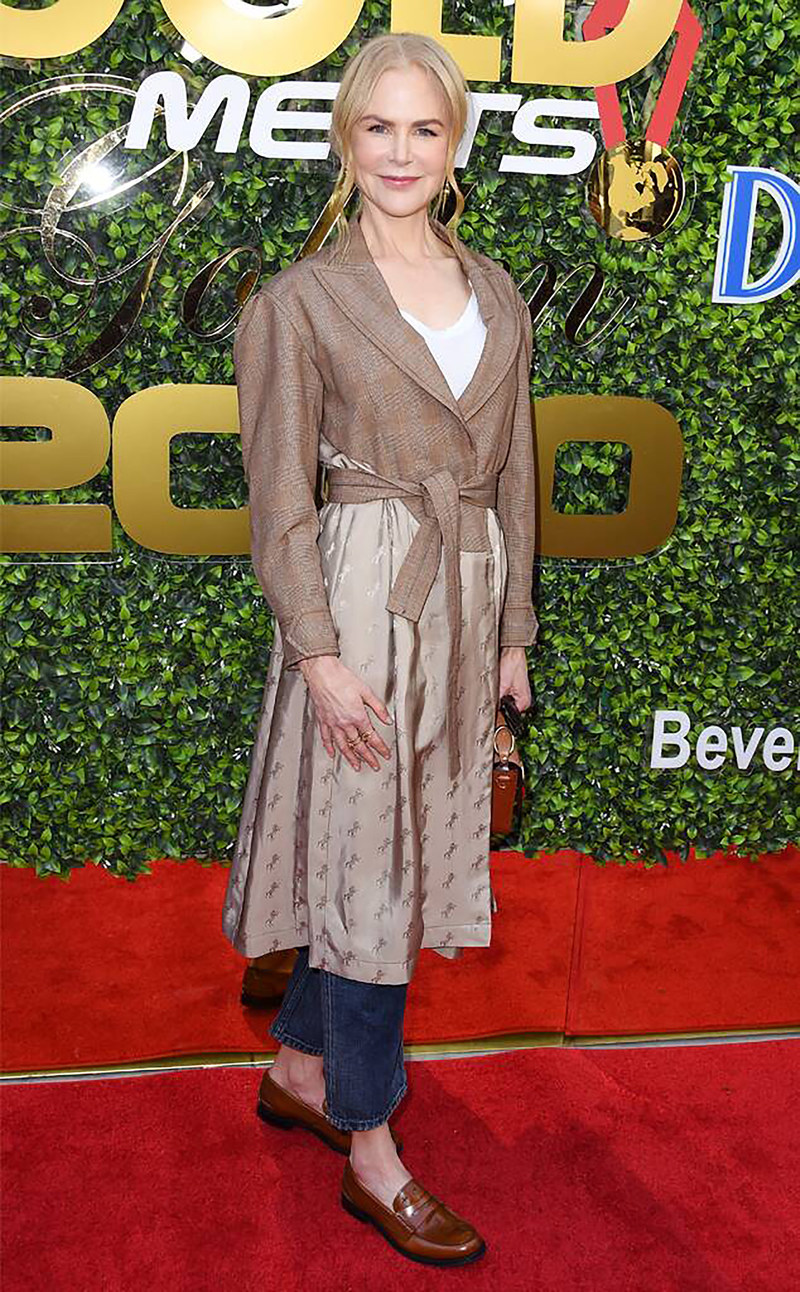 Nicole Kidman attends Coca-Cola, BMW Beverly Hills and FASHWIRE's Gold Meets Golden 2020, as a 7-year co-host with gymnast Nadia Comaneci.