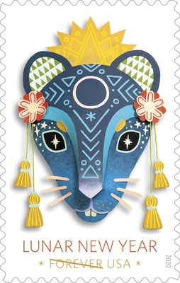 The Year of the Rat stamp is the first of 12 stamps in the Lunar New Year series. The Year of the Rat stamp is being issued as a Forever stamp in panes of 20 and will always be equal in value to the current First-Class Mail® one-ounce price.