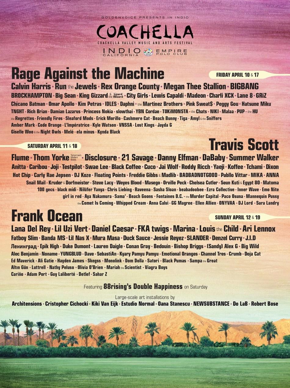 2020 Coachella Music Festival Lineup