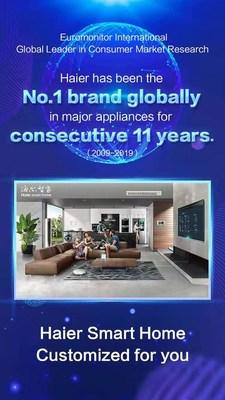 Haier lidera ranking mundial do Euromonitor entre marcas globais de eletrodomésticos de grande porte pelo 11º ano consecutivo