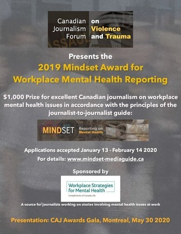 Mindset Award E-Poster (CNW Group/Canadian Journalism Forum on Violence and Trauma)