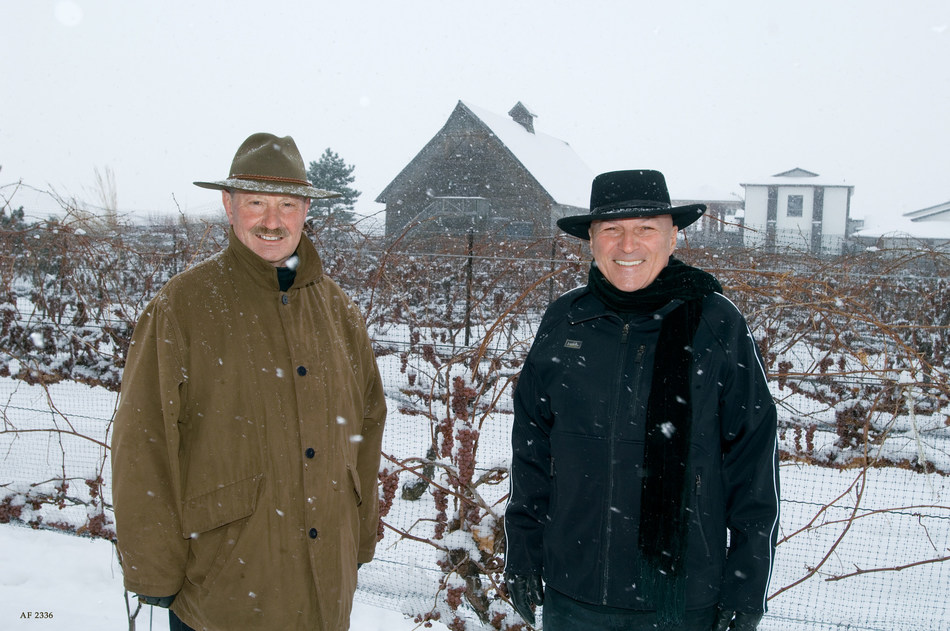 Inniskillin founders, Karl Kaiser (left) and Donald Ziraldo (right) faced countless challenges before winning the Grand Prix d'Honneur for their 1989 Vidal Icewine. (CNW Group/Arterra Wines Canada)