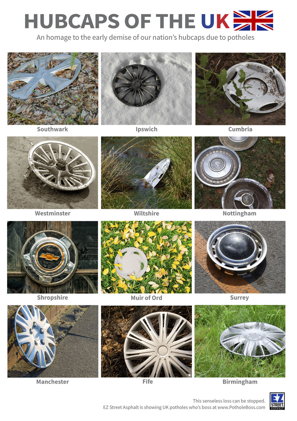 This homage to lost hubcaps of the UK is going out across the nation, and directing recipients to www.PotholeBoss.com