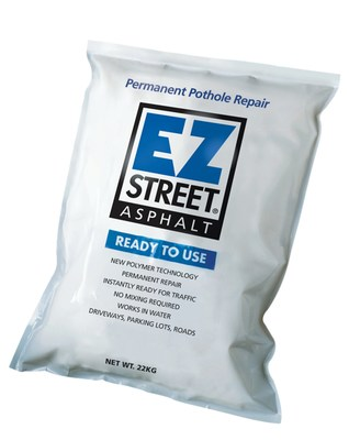A good solution to the UK pothole menace can be found inside this bag. EZ Street Asphalt is a first-time fix, and can repair a pothole in minutes. It even works in water, and permanence is guaranteed.