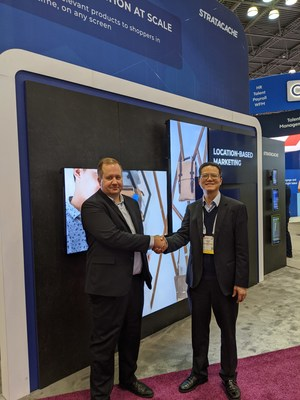 Chris Riegel, STRATACACHE pictured with Randy Chen, BOE in STRATACACHE's booth at NRF 2020: Retail's Big Show