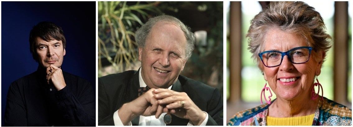 (Left to right): Ian Rankin, Alexander McCall Smith, Prue Leith