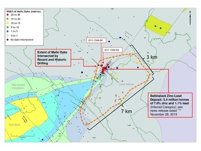 Exhibit 2. Plan Map Showing New Drilling and Extent of Thickest (>10 metres) Portion of Mafic Dyke (CNW Group/Group Eleven Resources Corp.)