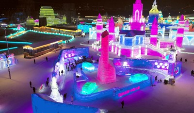Le parc thématique destiné aux entreprises de marque nationales de la 21e édition du Harbin Ice-Snow World. (PRNewsfoto/Xinhua Silk Road Information Se)
