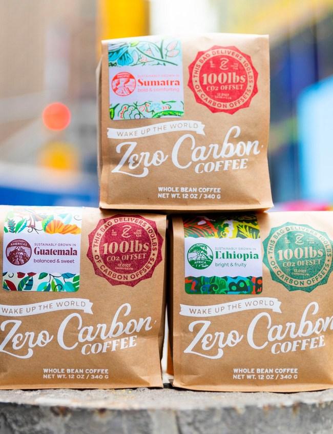 Zero Carbon Coffee Sumatra, Ethiopia, and Guatemala single origin coffees.