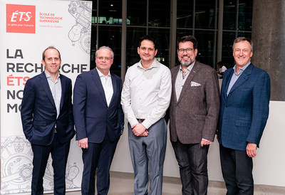 Alexandre Raymond, vice-president, and Luc Leblanc, president (Orthogone), Ismail Ben Ayed, chairholder, François Gagnon, d.g., and Charles Despins, director (ETS). (CNW Group/École de Technologie Supérieure)