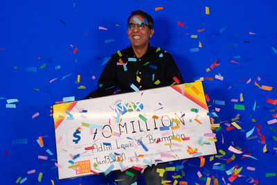 Adlin Lewis of Brampton celebrates his record-breaking $70 million win. Adlin won the Tuesday, January 7, 2020 LOTTO MAX jackpot. (CNW Group/OLG Winners)