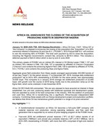AFRICA OIL ANNOUNCES THE CLOSING OF THE ACQUISITION OF PRODUCING ASSETS IN DEEPWATER NIGERIA (CNW Group/Africa Oil Corp.)