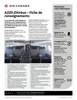 A220 d'Airbus – Fiche de renseignements (Groupe CNW/Air Canada)