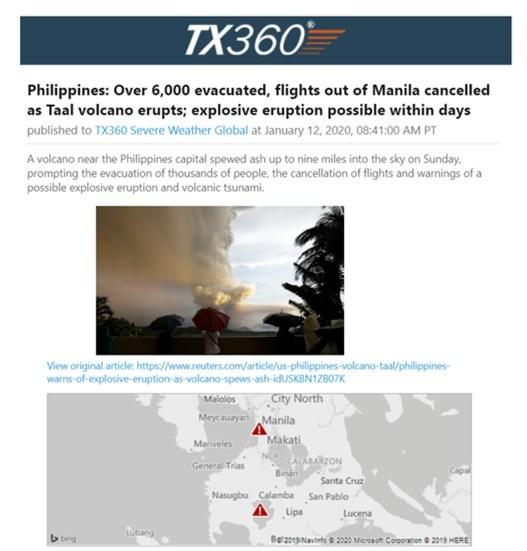 Volcano alert example, Philippines, evacuations