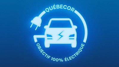Logo : Québecor : objectif 100 % électrique ! (Groupe CNW/Québecor)