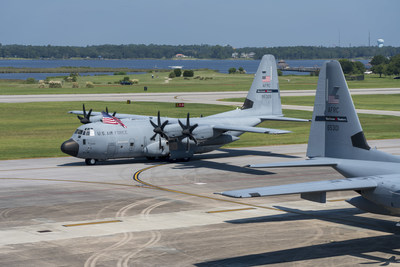 "A U.S Air Force ""Hurricane Hunter"" WC-130J aircraft from the 53rd Weather Reconnaissance Squadron taxis to a parking spot after completing its mission into Hurricane Dorian, Sep. 5, 2019, at Keesler Air Force Base, Mississippi. (U.S. Air Force photo by Tech. Sgt. Christopher Carranza)"